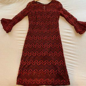 SANDRA DARREN RED LACE DRESS